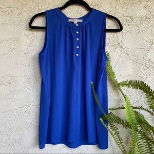 LOFT blue sleeveless top with pearl front buttons